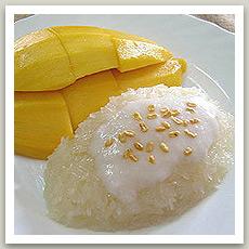 Riz gluant à la mangue ( ข้าวเหนียวมะม่วง - Khao Niao Mamouang)